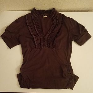 Tops - Chocolate Brown Plunge Shirt